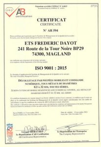 certification Dayot Décolletage iso 9001